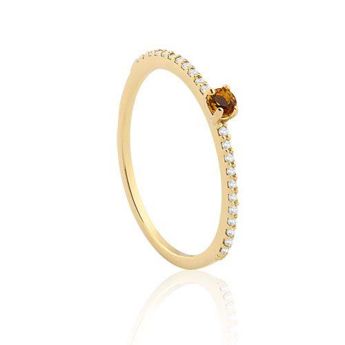 Anel Ouro Amarelo Diamantes e Citrino Cores