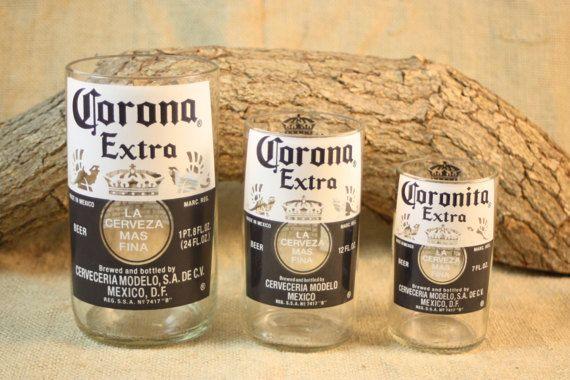 Corona Drinking Glass Set Set of Three 3 by CountryRichDesigns