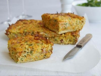 Sweet Potato and Bacon Slice recipe. Very similar to vege slice I already make quite often, veges vary all the time but never thought of sweet potato before