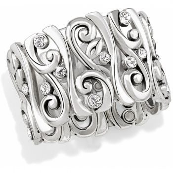 Concerto Stretch Bracelet  available at #Brighton The swirls & Swarovski on this silver-plated bracelet work in concert.