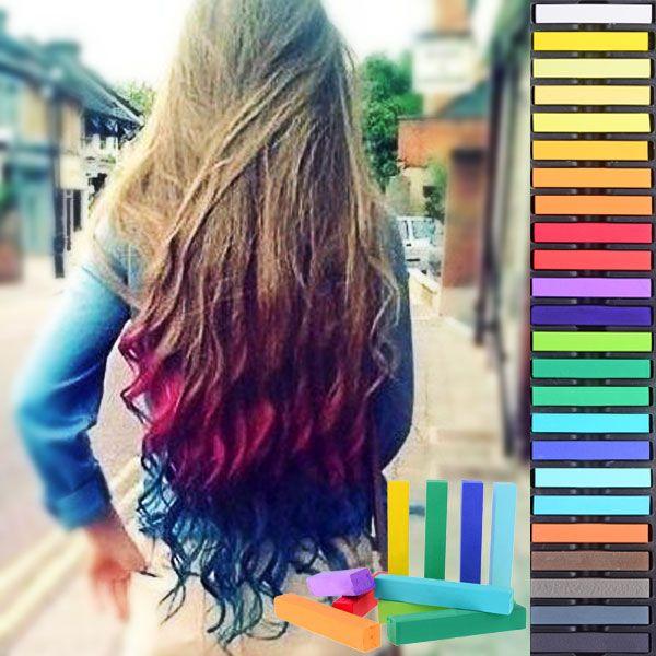 24 Colors Temporary Soft Hair Dye Pastel Coloring Chalk Set