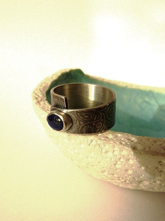 Lapis Lazuli ring Paisley pattern Sterling silver by Mirma on Etsy