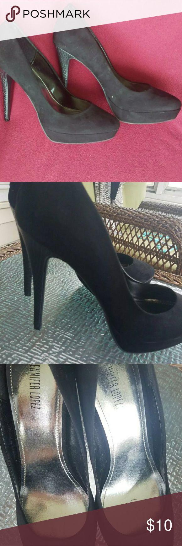 "Black size 10 Jennifer Lopez Stilettos Pre owned Feels almost like suede Heel height is roughly 4.5"" to 5"" Jennifer Lopez Shoes Heels"