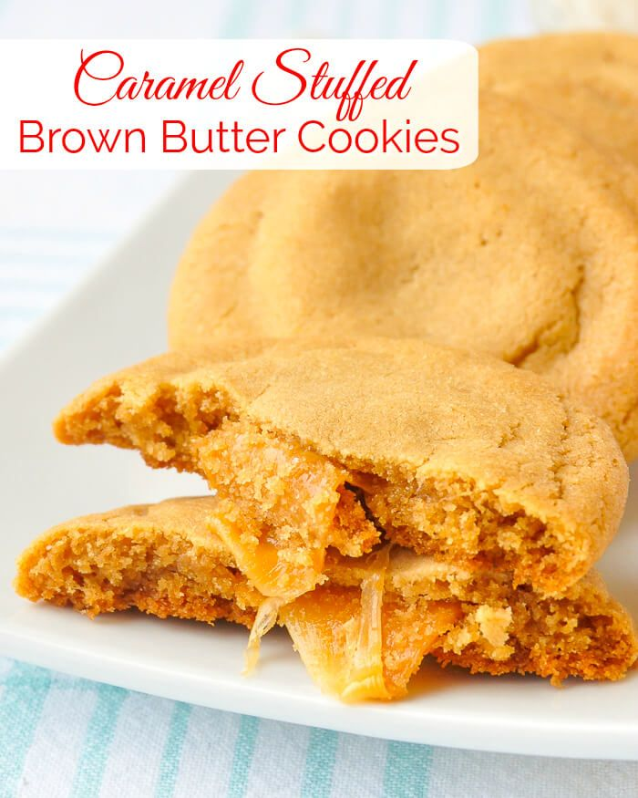 Caramel Stuffed Brown Butter Cookies image with title text