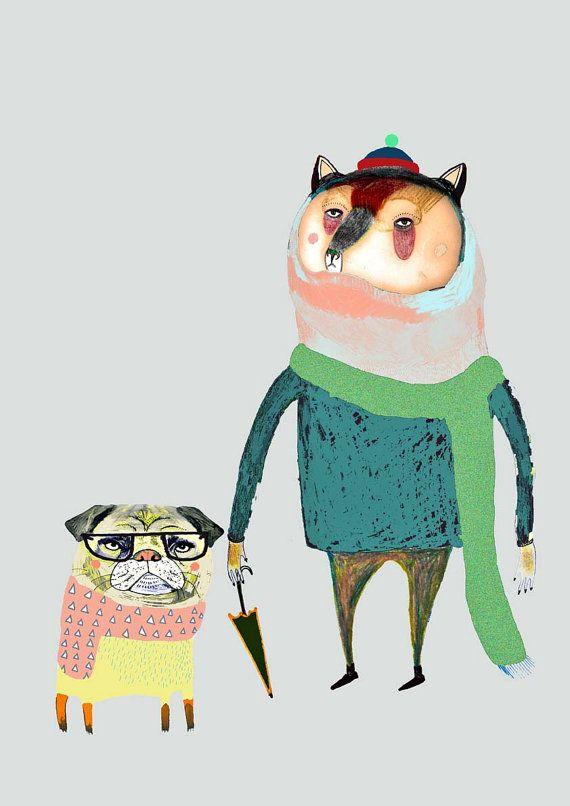 Bear and Pug. Kids Art Illustration print by AshleyPercival