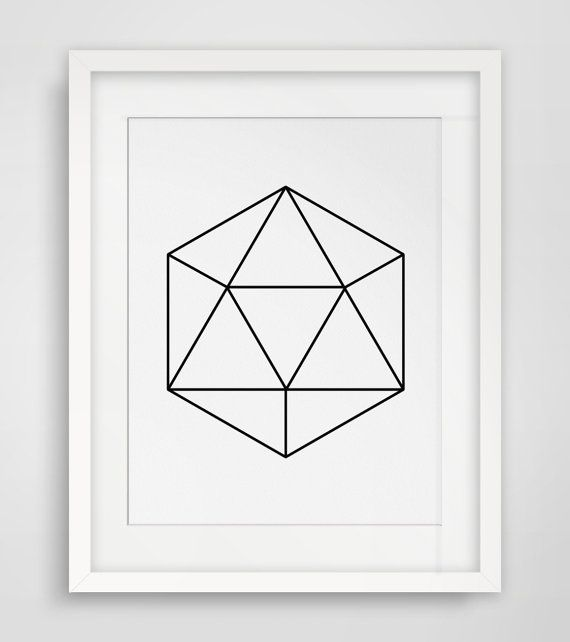 Gem Print, Gem Art, Gem Wall Art, Black and White Gem, Geometric Print, Wireframe, Thin Lines, Geometric Art, Diamond Print, Diamond Art