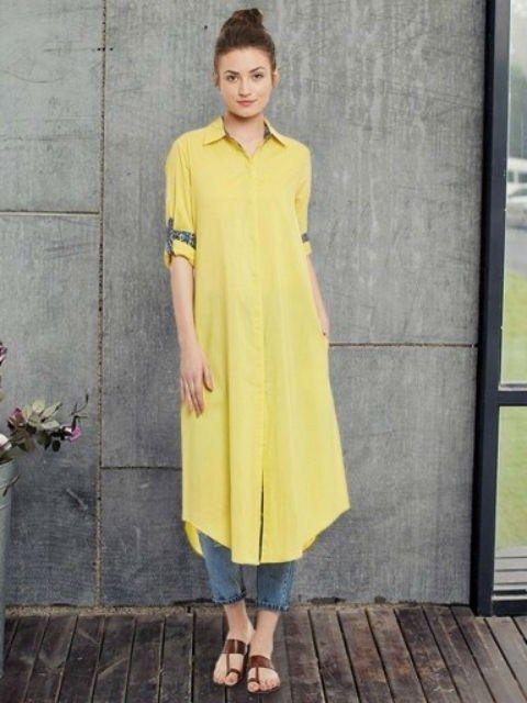 cab45739b67013 Cotton Yellow Plain Stitched #Shirt Style Kurti | Shirt Style Kurti ...
