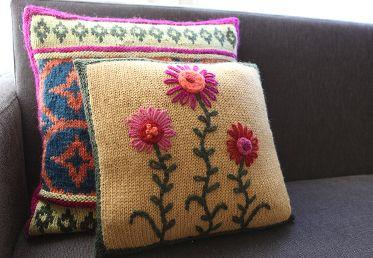 Embroidered Knit Pillow workshop - Creativebug