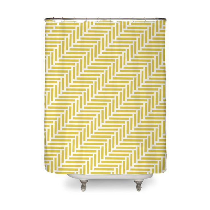 Herringbone Yellow Shower Curtain by Project M $50
