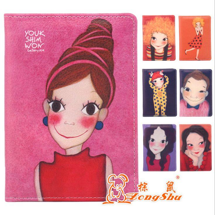 Warmfolk Korean Cartoon Girl Passport Cover PU Travel Passport Wallet  ID Credit Card Bag Business Card Case PC-45