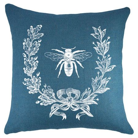 Handmade Burlap Pillow With A Bee Motif Made In The USA Product PillowConstruction