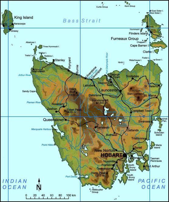tasmania australia | Tasmania: Tasmania geographic map, Australia.