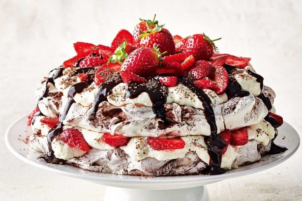 Triple choc low-fat pavlova