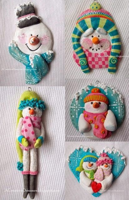 Snowmen Salt Dough Ornaments 2013 (copyright 2013, june crawford, all rights reserved)