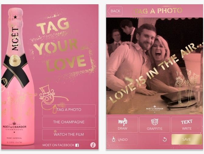 Moët & Chandon champagne's promotional collateral for it's mobile app