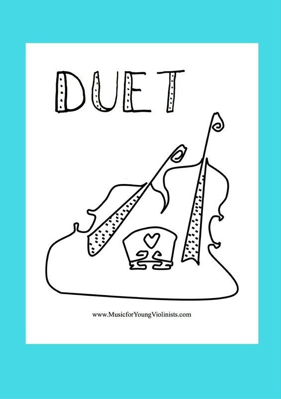DUET COLORING SHEET - Free Violin Music and Innovative Teaching Resources at www.MusicforYoungViolinists.com
