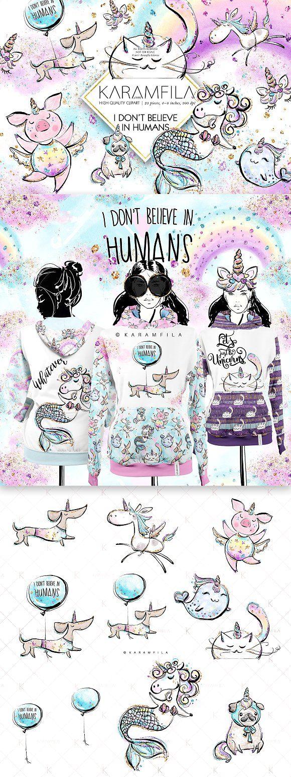 Unicorn Pets Clipart by Karamfila on @creativemarket