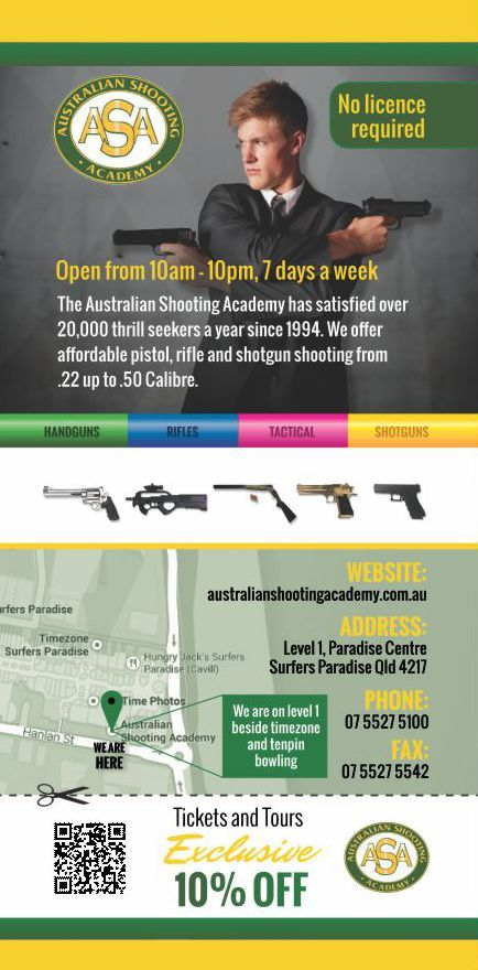 An ideal destination for rainy days, the academy maintains a highly safe and secure environment, with all customers receiving personalised and professional instruction from our fully trained range officers, ensuring that your experience at the academy is both enjoyable and without hassle. print your discount voucher now http://ticketsandtours.com.au/travel/australian-shooting-academy/