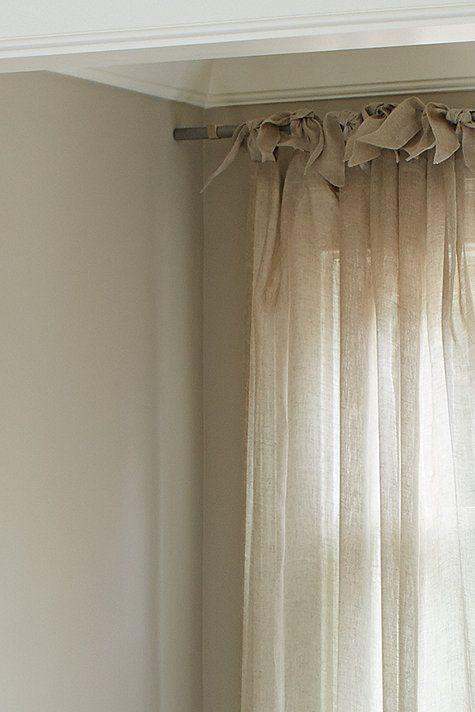 Linen Sheer Tie Top Panel Linen Curtains Linen Curtains Dining