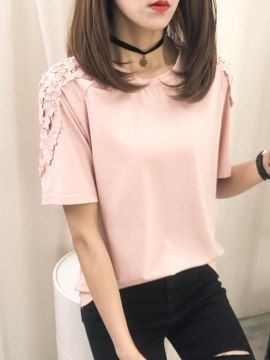 肩の透かし雕りデザイン無地レディースTシャツ