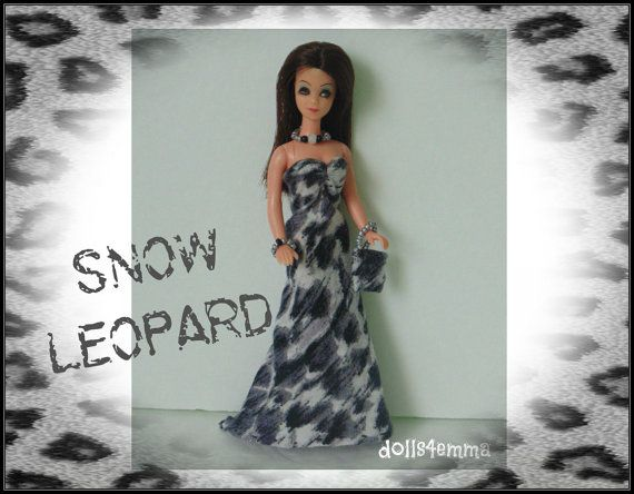 Topper DAWN Doll CLOTHES  Snow Leopard Gown Purse by DOLLS4EMMA