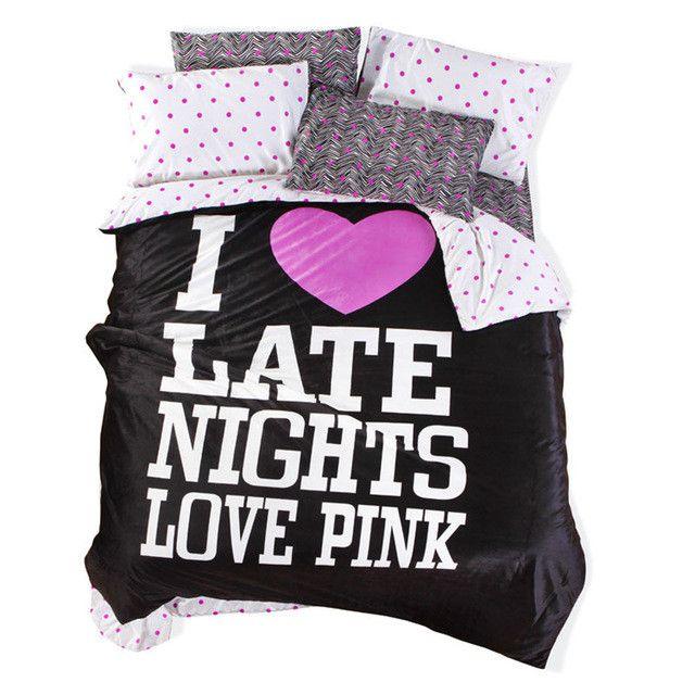 Victoria pink velvet pink Leopard print bedspread set Bedding Bed Sheets 4pcs Leopard Fitted Sheet set Duvet Cover lover