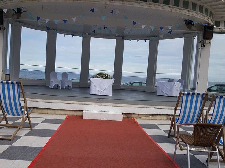 Scarborough Spa. Outdoor wedding in the Suncourt. Bunting & deckchairs.