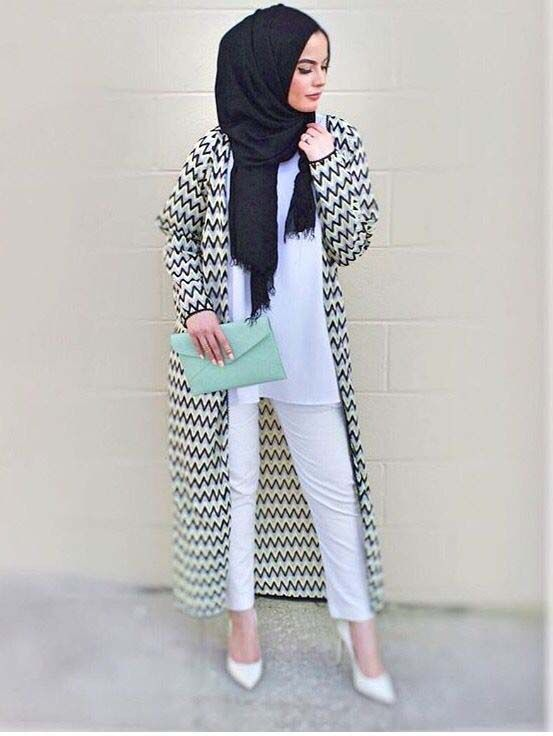 Pinterest: @eighthhorcruxx. Omaya Zeyn. Love the long cardigan and mint green clutch