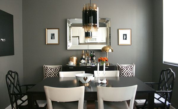 Chic Dining Room Design With Gorgeous Dark Gray Walls Paint Color Beveled Mirror Ebony Table Ballard Designs Black Macau Chairs David Hi