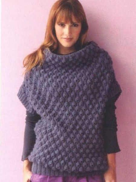 Пуловер без рукавов из толстой пряжи