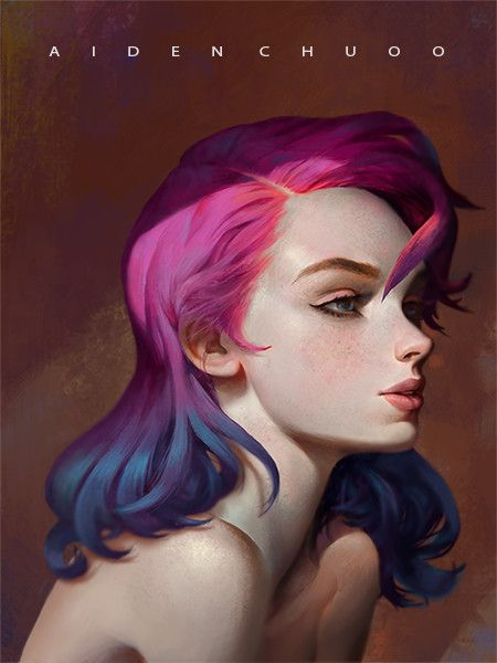 Psychedelic purple girl, AIDEN CHUO on ArtStation at https://www.artstation.com/artwork/xqPzR