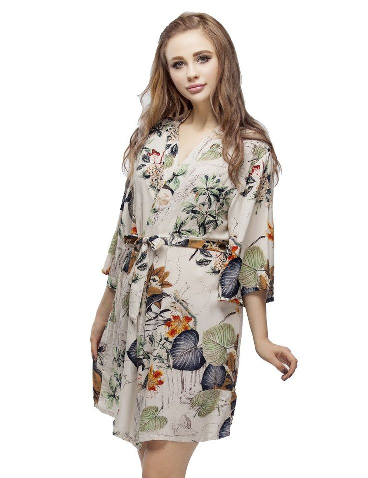 Lotus Leaf Cotton Kimono Robe, Short Bridesmaid Robes, Wedding Party Nightwear