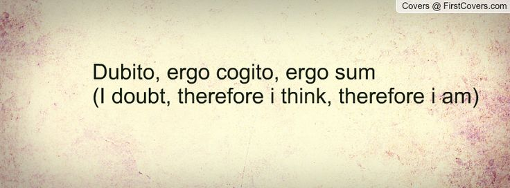 Dubito, ergo cogito, ergo sum (I doubt, therefore i think, therefore i am) Facebook Quote Cover #138225
