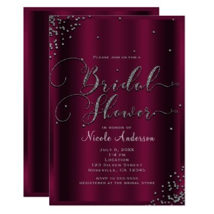 Bridal Shower Modern Burgundy Silver Confetti Card - invitations custom unique diy personalize occasions