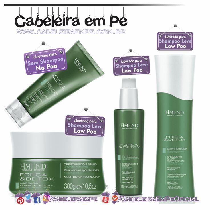 Linha Força e Detox - Amend (Condicionador, Máscara e Leave in liberados para Low Poo - Pré SHampoo Liberado para No Poo)