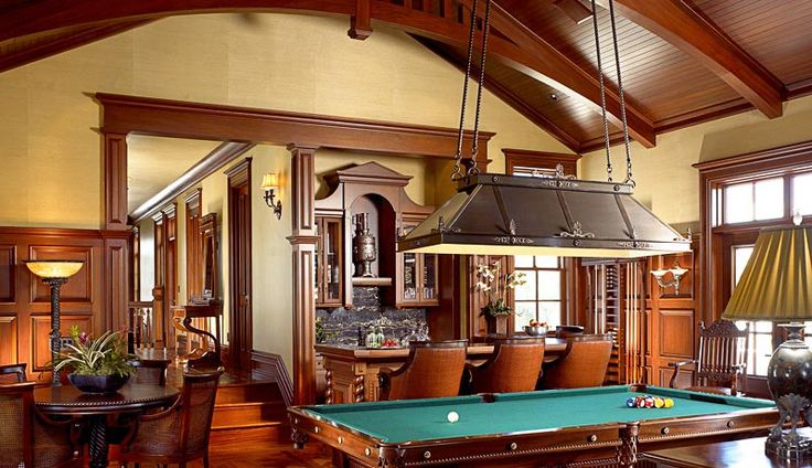 British colonial game room pool table old english with tv billiard room british colonial - Decoracion salon colonial ...