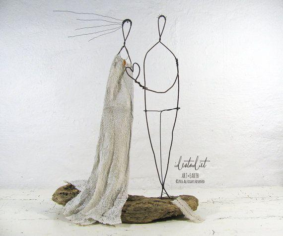 Einzigartige Hochzeit paar Treibholz und Draht Skulptur Mixed Media Art…
