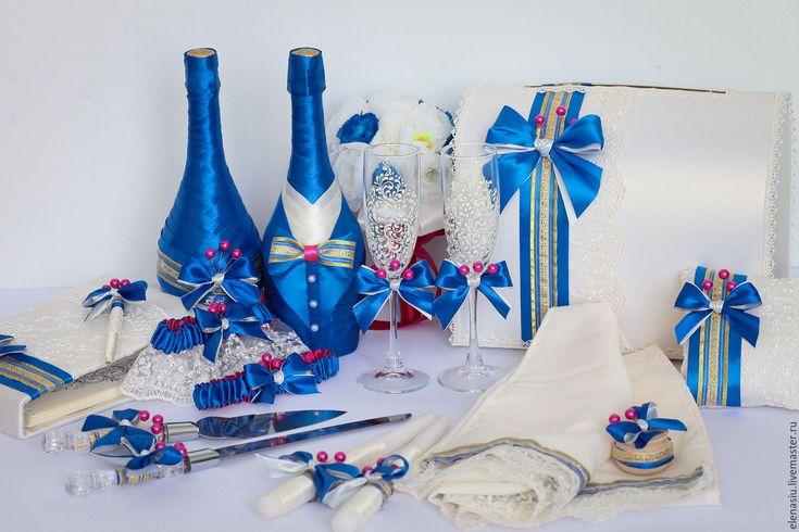 Купить Набор аксессуаров для синей свадьбы - синий, синяя свадьба, свадебные аксессуары, набор аксессуаров