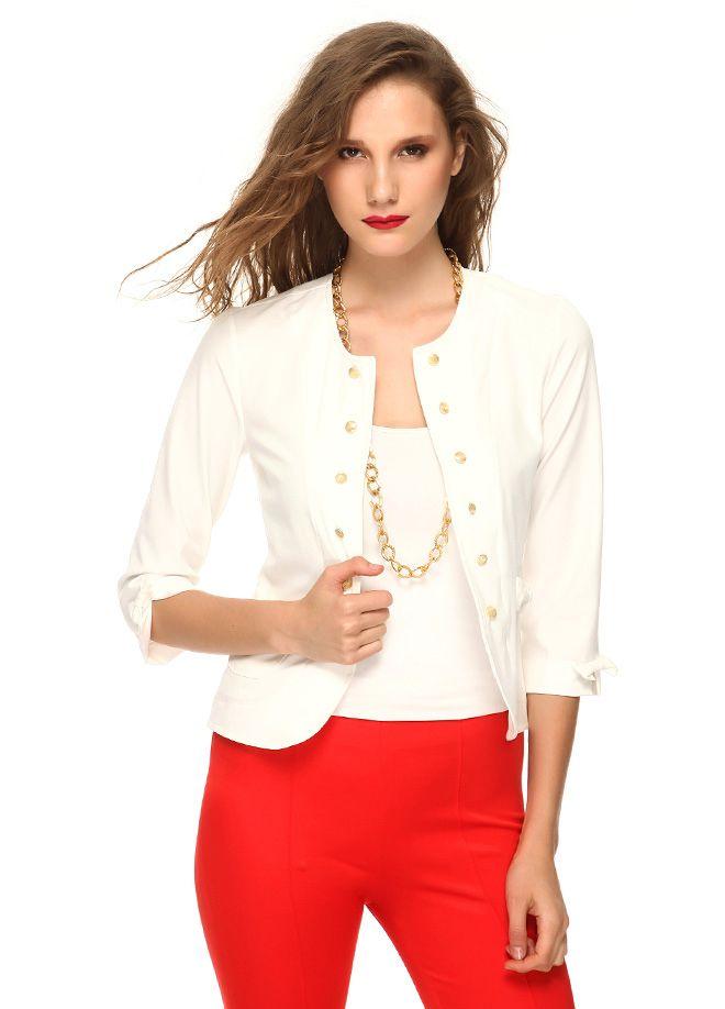Stil Aşkı: Kırmızı ve Beyaz Buluşması Fiyonklu ceket Markafoni'de 134,99 TL yerine 44,99 TL! Satın almak için: http://www.markafoni.com/product/4733767/ #summer #fashion #dress #moda #elbise #girl #model #fashion #red #kırmızı #white #beyaz