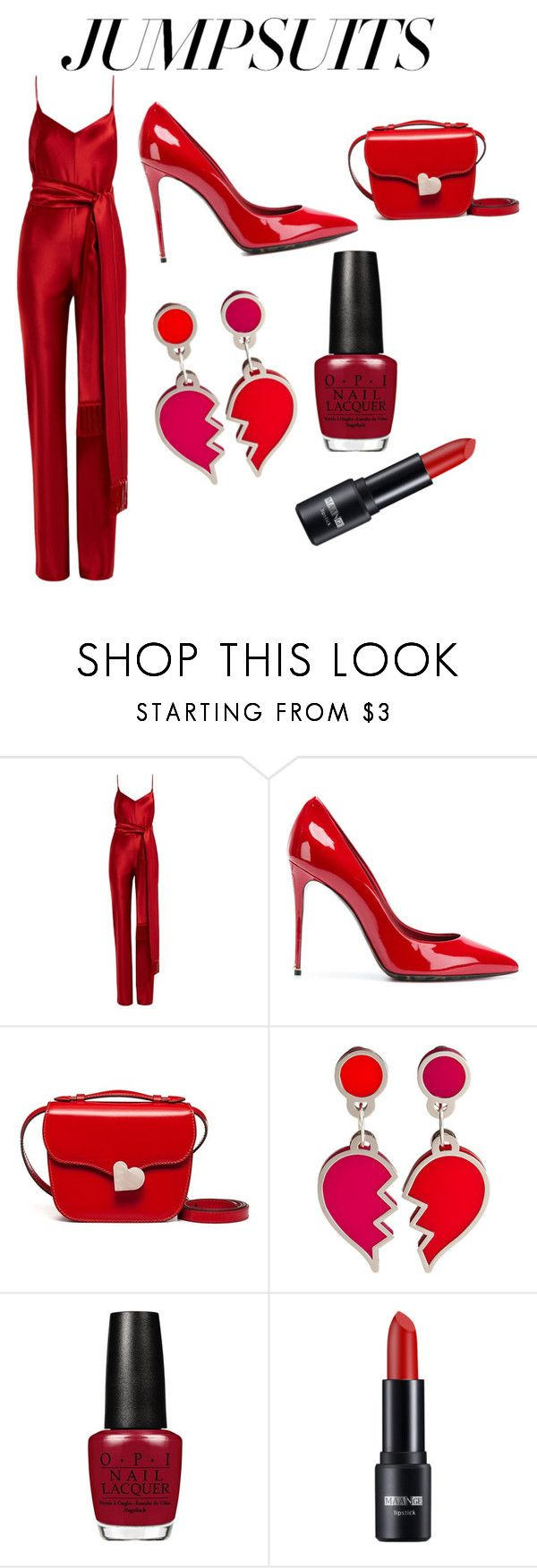 """Red jumpsuit"" by ingrid-zhou ❤ liked on Polyvore featuring Galvan, Dolce&Gabbana, Marni and jumpsuits"