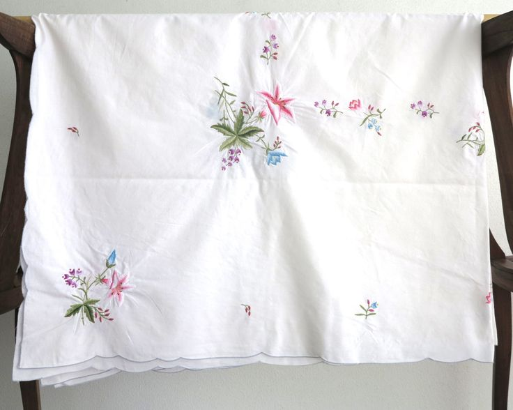 Embroidered rectangular tablecloth with bouquets of multi colored flowers on white linen, 65 x 50 inches / 165 x 127 cm, mid 20th century by CardCurios on Etsy