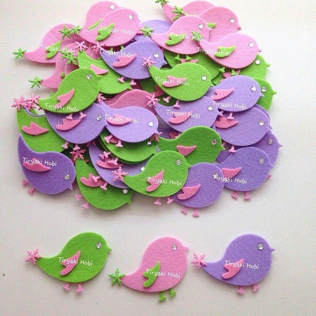 ♥ Tiryaki Hobi ♥: Keçe bebek şekeri / doğumgünü magneti - kuş(Umay Lila) ----------  felt birds