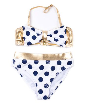 White & Navy Polka-Dot Bikini - Girls