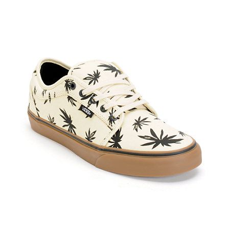 Get a major style lift in the Zumiez Exclusive Vans Chukka Low Palms natural, black, and gum skate shoes. A clean natural canvas colorway with an all-over black Vans logo pot leaf print on a gum rubber Pro Vulc outsole with UltraCush HD sockliner to give