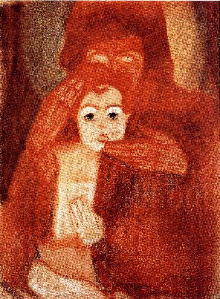 Egon Schiele, Mutter mit Kind (Madonna), um 1908