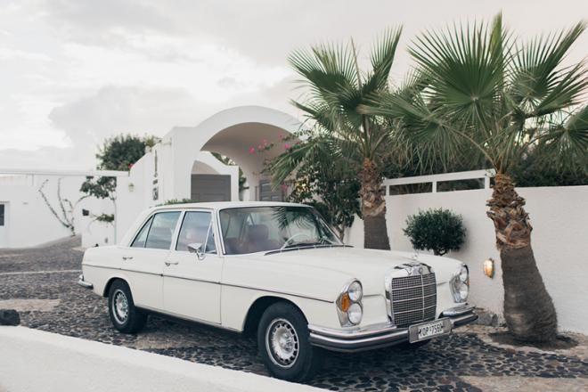 Vintage wedding car-Santorini