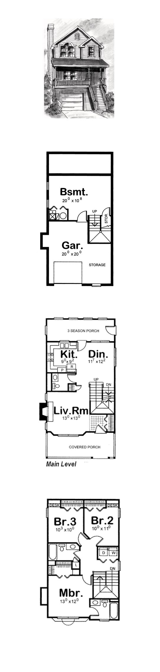 Coastal House Plan 68865 | Total Living Area: 1297 sq. ft., 3 bedrooms and 2.5 bathrooms. #coastalhome