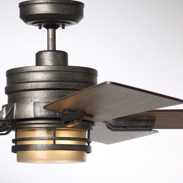 The Amhurst ceiling fan features stunning architectural lines, a touch of the industrial, and an inspired attention to detailall trademarks of cutting-edge design. Featuring rustic housing, five 54-in