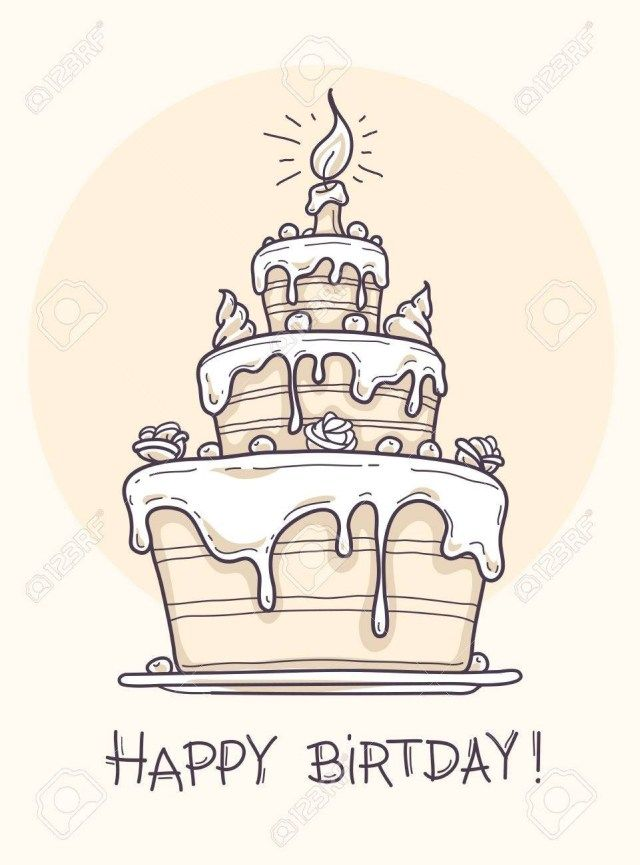 32 Awesome Image Of Birthday Cake Drawing Entitlementtrap Com Birthday Card Drawing Cake Drawing Happy Birthday Drawings
