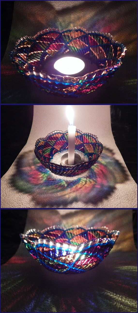 RichanaDragon ||| Rainbow whirl. Glass BOWL candle holder for mysterious rainbow colors light in night. Hand painted stained glass. | Coupon code RICHPINTEREST (10% off)